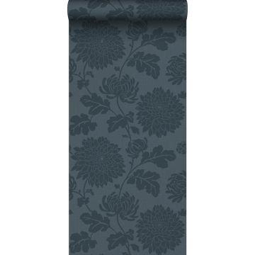 papier peint fleurs bleu foncé