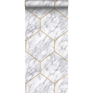 papier peint hexagone effet marbre blanc, gris et or