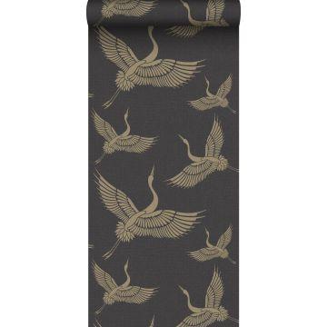 papier peint oiseaux de grue noir et or