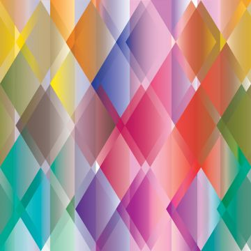 papier peint panoramique triangles colorés jaune, rose, rouge, violet et vert