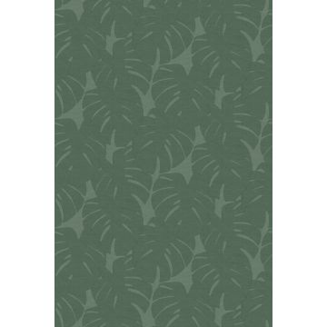 papier peint panoramique feuilles avec structure tissée vert
