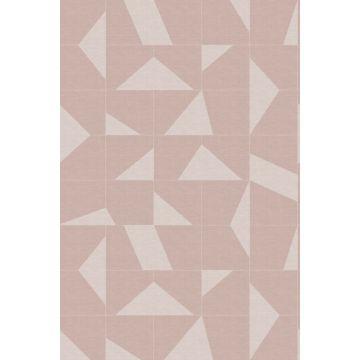 papier peint panoramique motif graphique vieux rose