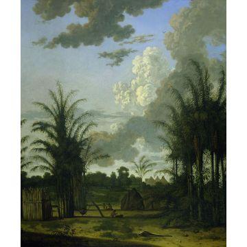 papier peint panoramique paysage tropical vert, bleu et moutarde verte