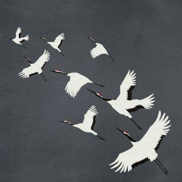 papier peint panoramique oiseaux de grue gris foncé
