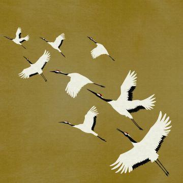 papier peint panoramique oiseaux de grue jaune ocre