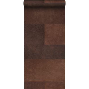 papier peint intissé XXL motif de carrellages avec imitation cuir marron