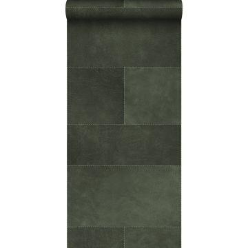papier peint intissé XXL motif de carrellages avec imitation cuir vert foncé