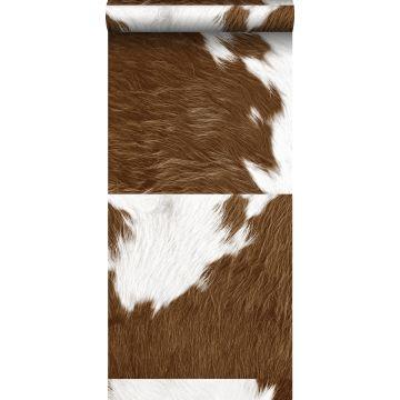 papier peint intissé XXL imitation peau de vache marron et blanc