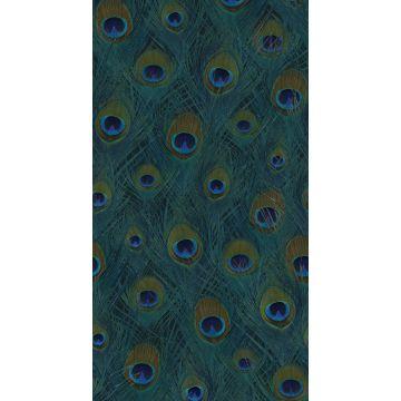 papier peint panoramique plumes de paon bleu canard