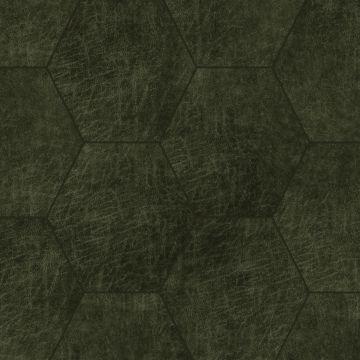 panneaux muraux éco-cuir adhésifs hexagone vert olive grisé