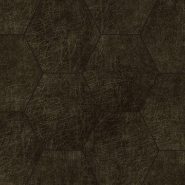 panneaux muraux éco-cuir adhésifs hexagone brun foncé