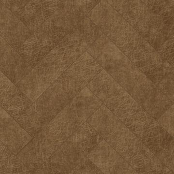 panneaux muraux éco-cuir adhésifs chevron marron cognac