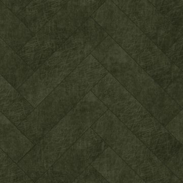 panneaux muraux éco-cuir adhésifs chevron vert olive grisé